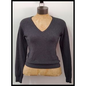 Zara Charcoal Preppy Pullover Knit Vneck Sweater M